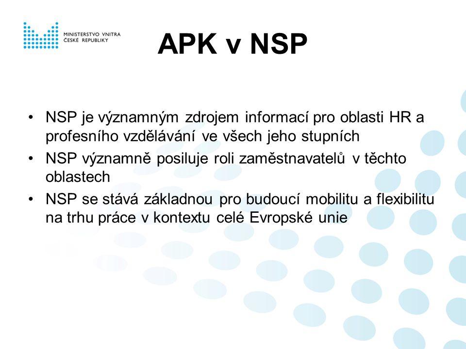 APK v NSP NSP je významným zdrojem informací pro oblasti HR a profesního vzdělávání ve všech jeho stupních.