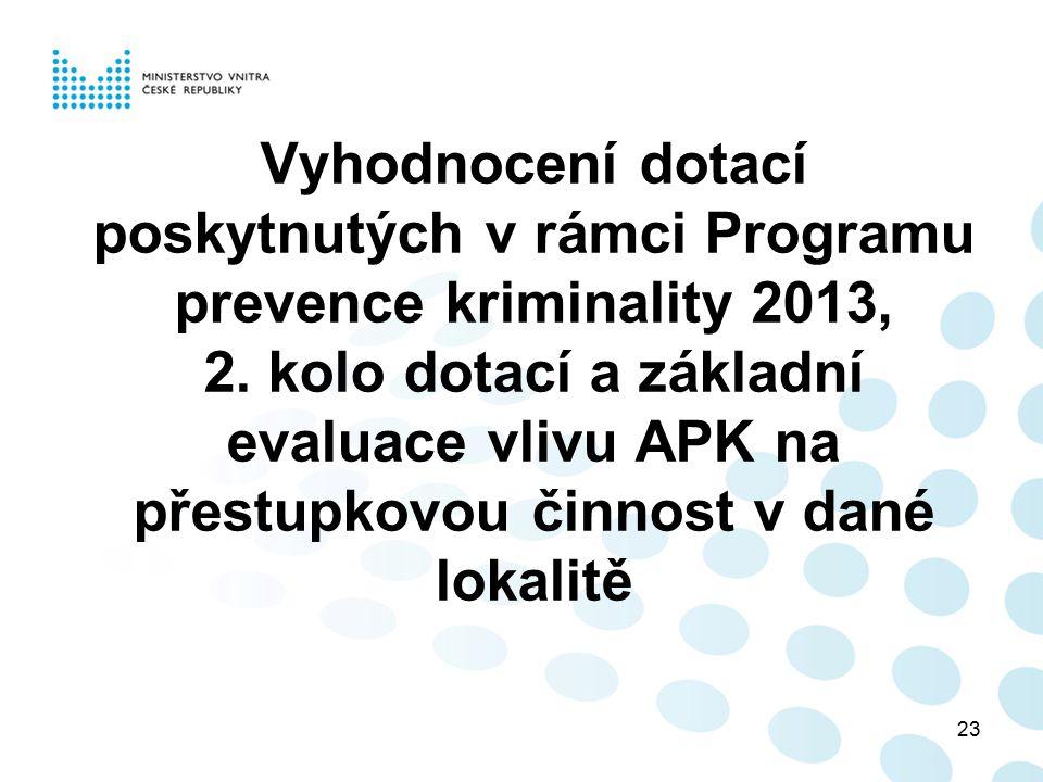 Vyhodnocení dotací poskytnutých v rámci Programu prevence kriminality 2013, 2.