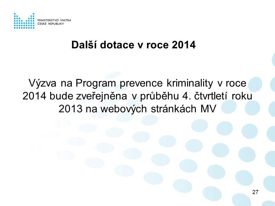 Další dotace v roce 2014 Výzva na Program prevence kriminality v roce 2014 bude zveřejněna v průběhu 4.