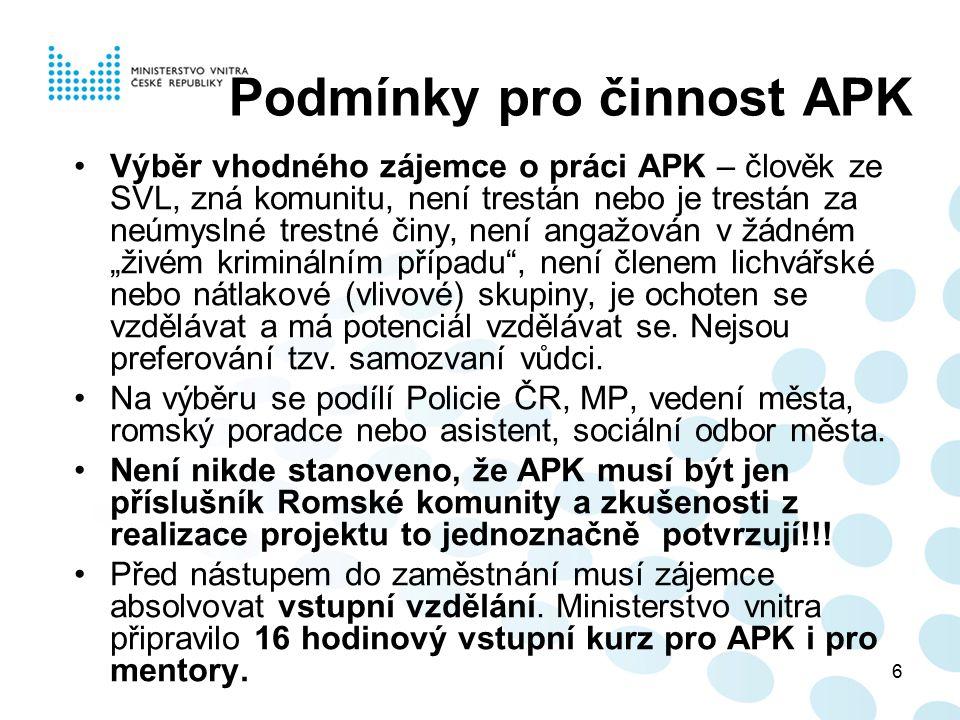 Podmínky pro činnost APK