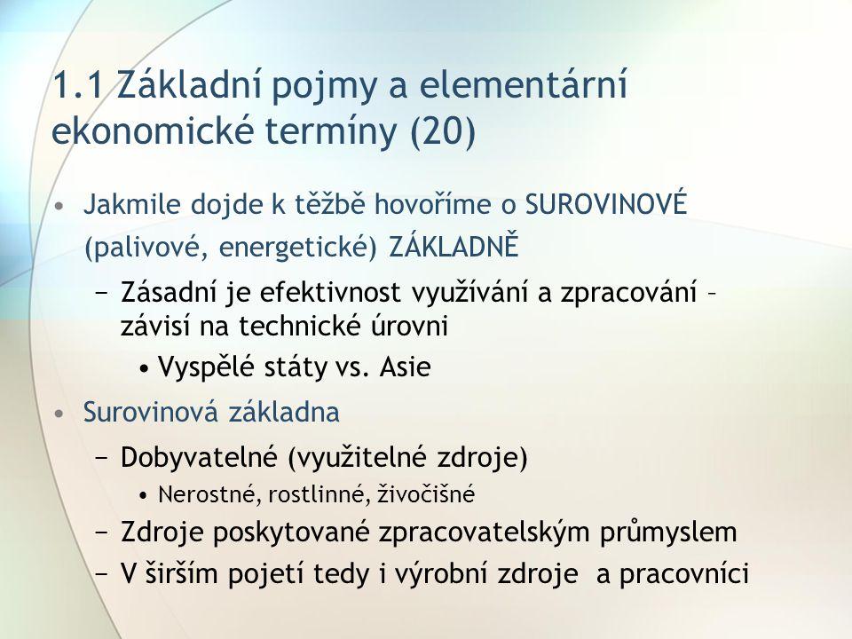 1.1 Základní pojmy a elementární ekonomické termíny (20)