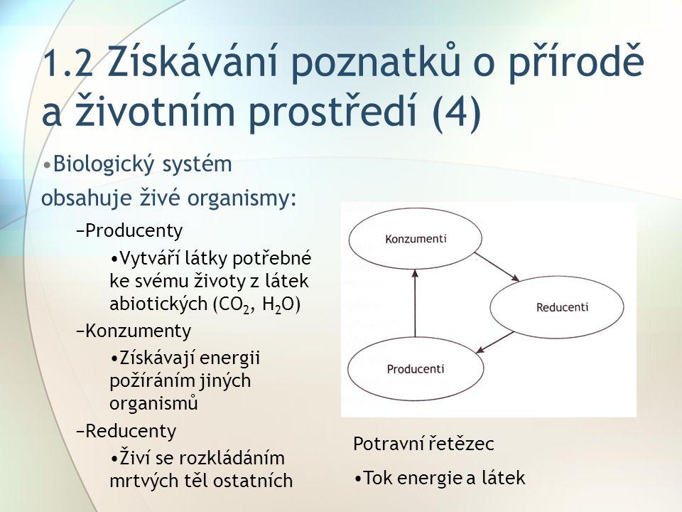 1.2 Získávání poznatků o přírodě a životním prostředí (4)