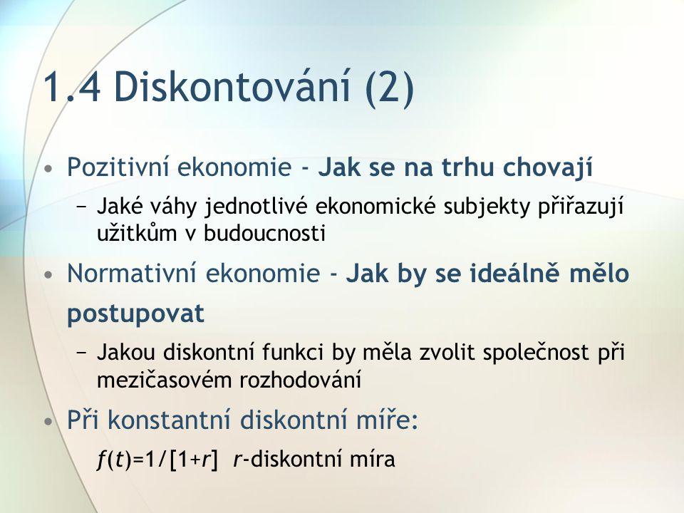 1.4 Diskontování (2) Pozitivní ekonomie - Jak se na trhu chovají
