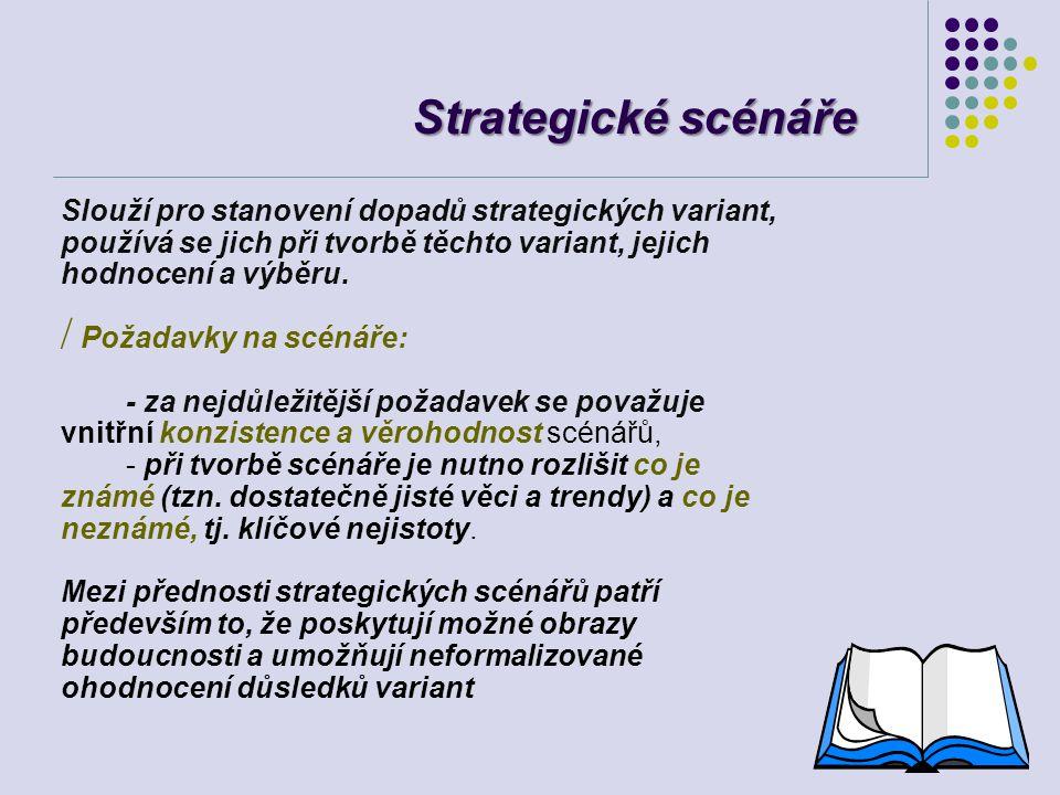 Strategické scénáře Slouží pro stanovení dopadů strategických variant, používá se jich při tvorbě těchto variant, jejich hodnocení a výběru.
