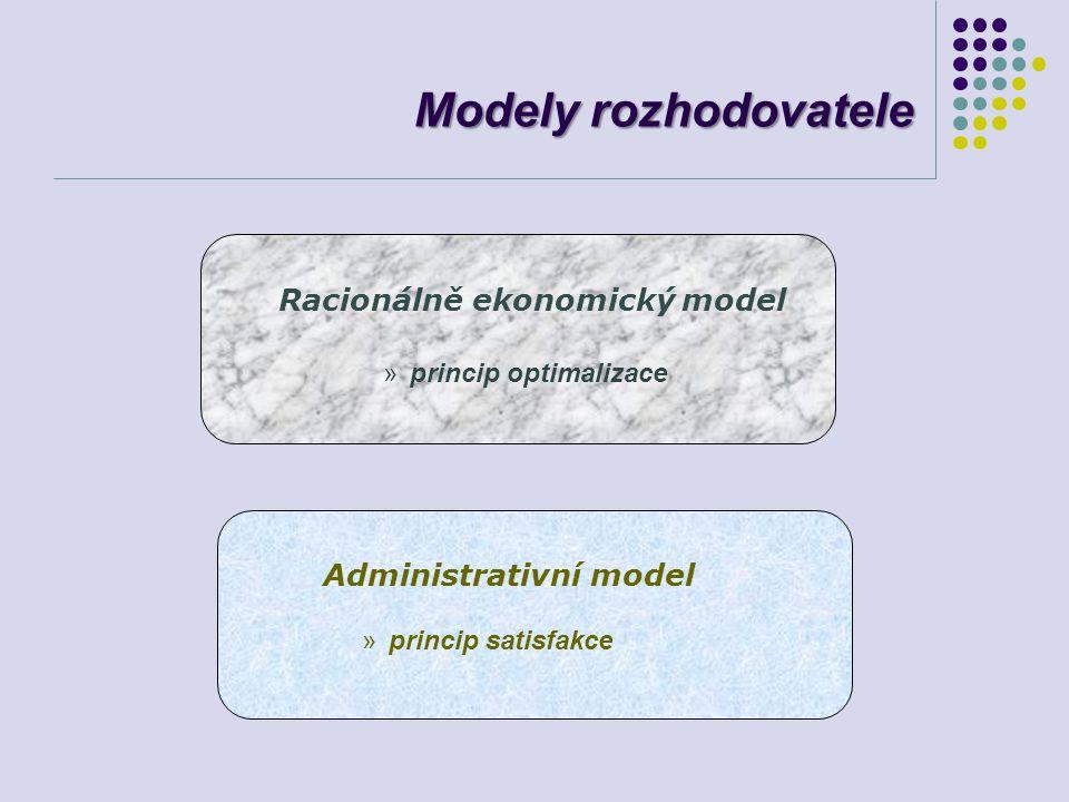Modely rozhodovatele Racionálně ekonomický model princip optimalizace