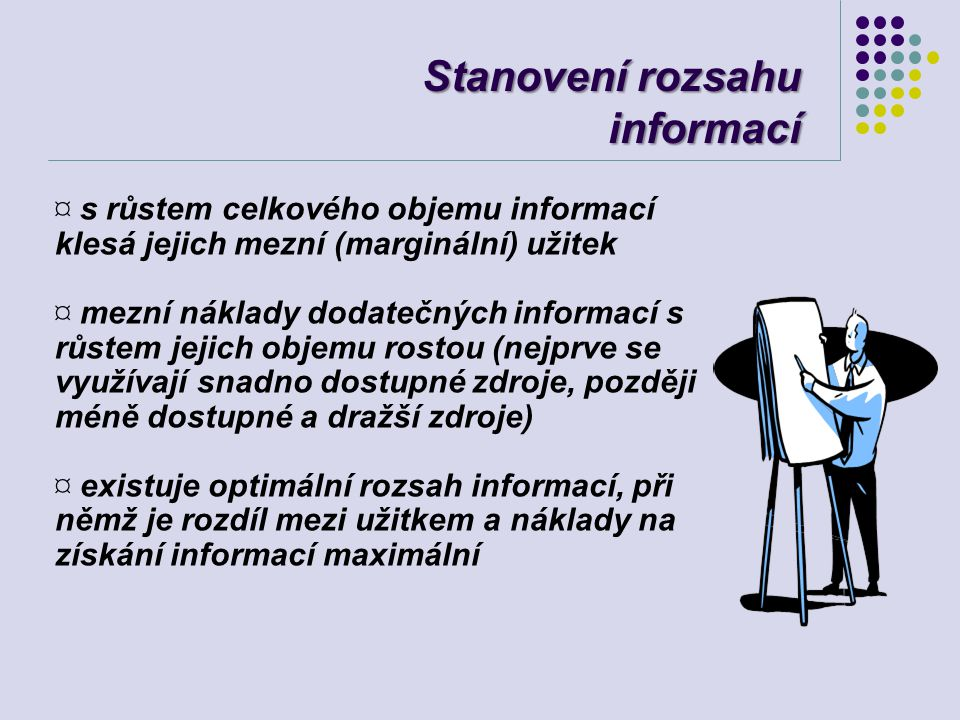 Stanovení rozsahu informací