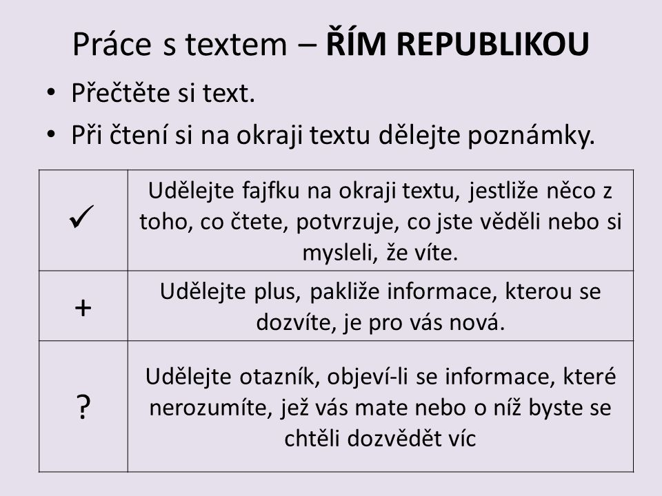 Práce s textem – ŘÍM REPUBLIKOU
