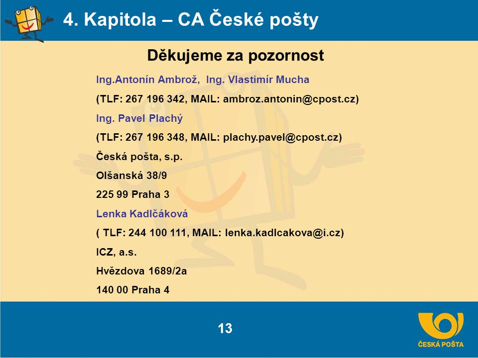 4. Kapitola – CA České pošty