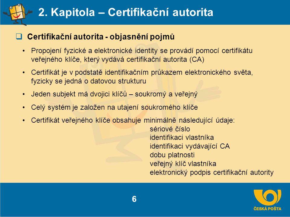 2. Kapitola – Certifikační autorita