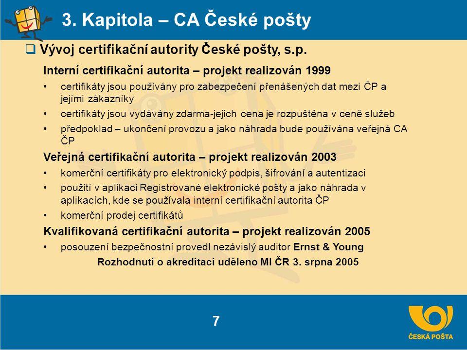 Rozhodnutí o akreditaci uděleno MI ČR 3. srpna 2005