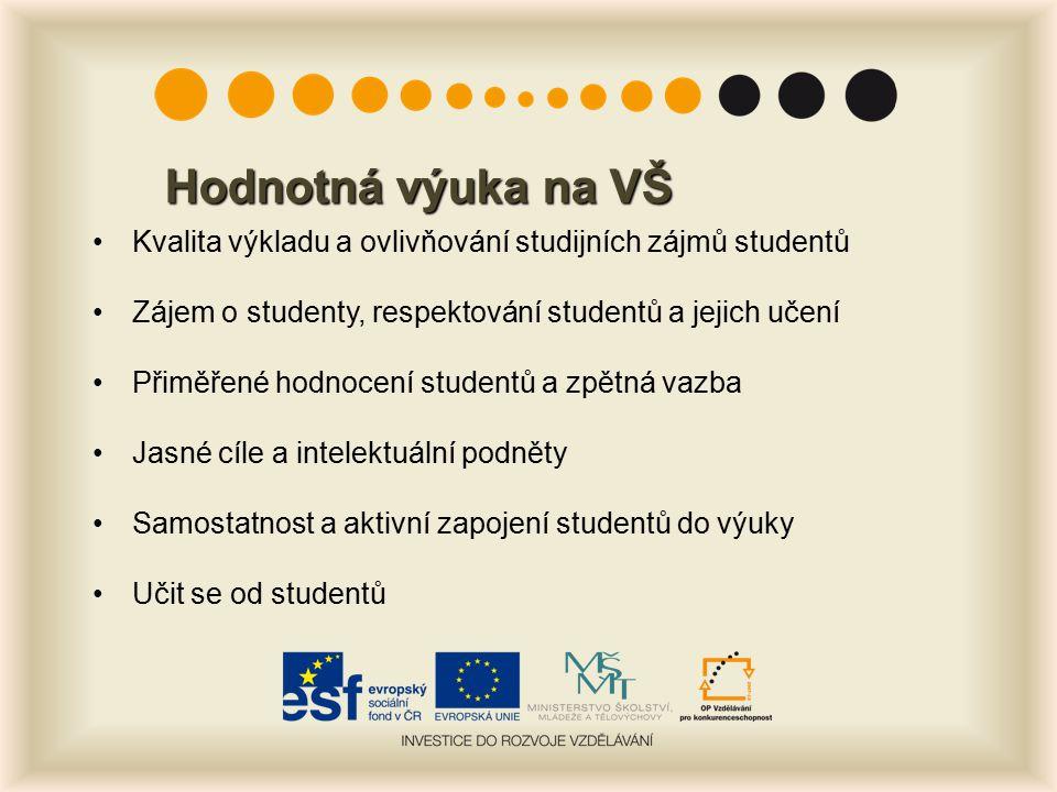 Hodnotná výuka na VŠ Kvalita výkladu a ovlivňování studijních zájmů studentů. Zájem o studenty, respektování studentů a jejich učení.