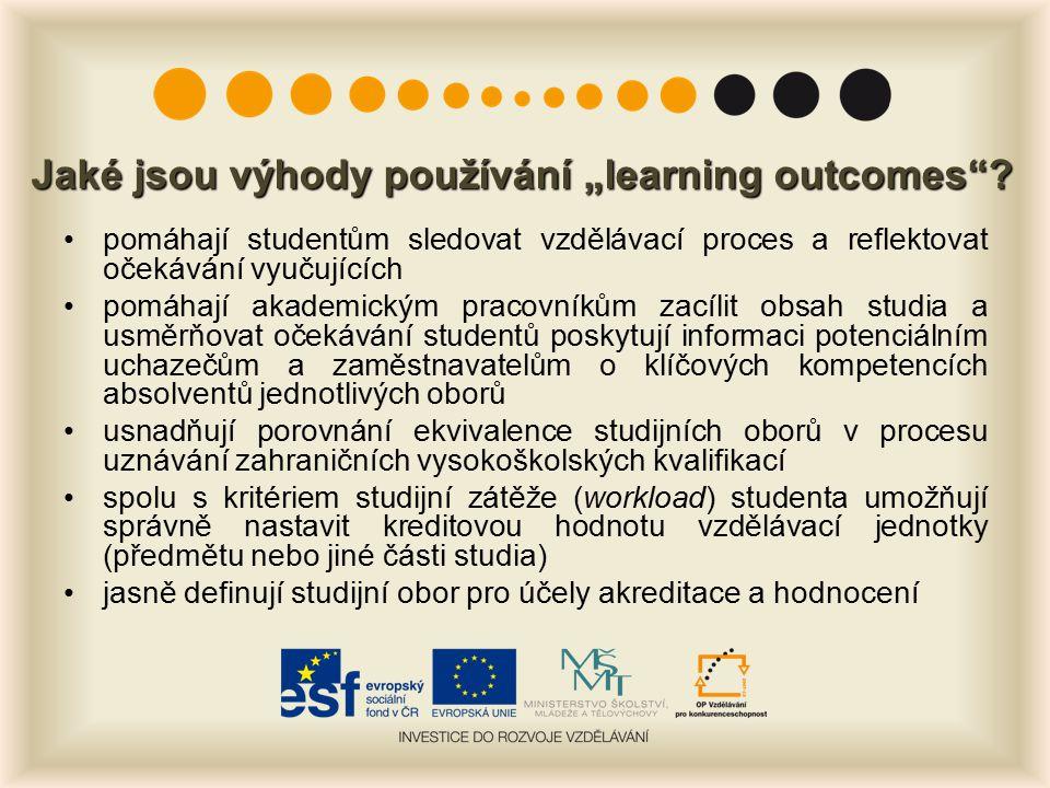 """Jaké jsou výhody používání """"learning outcomes"""