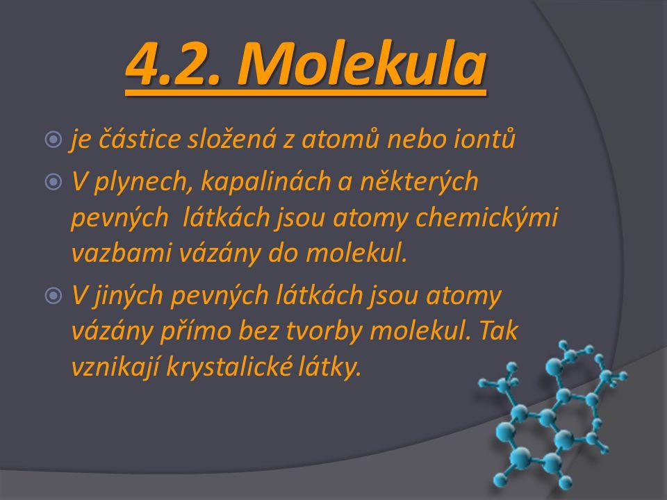 4.2. Molekula je částice složená z atomů nebo iontů