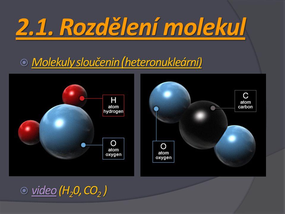 2.1. Rozdělení molekul Molekuly sloučenin (heteronukleární)
