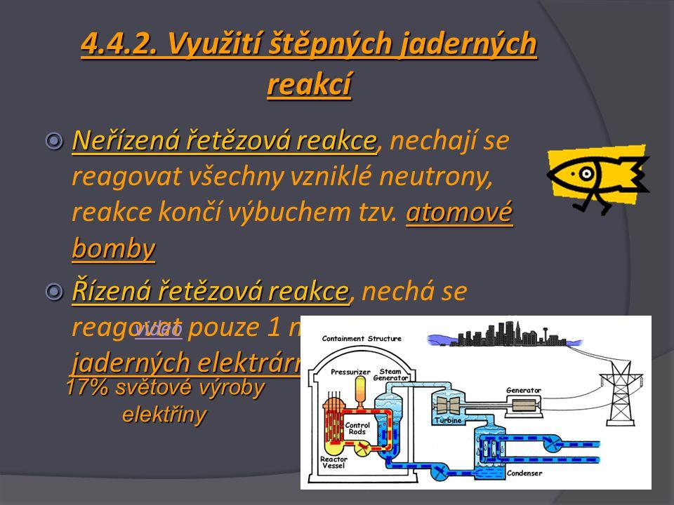 4.4.2. Využití štěpných jaderných reakcí