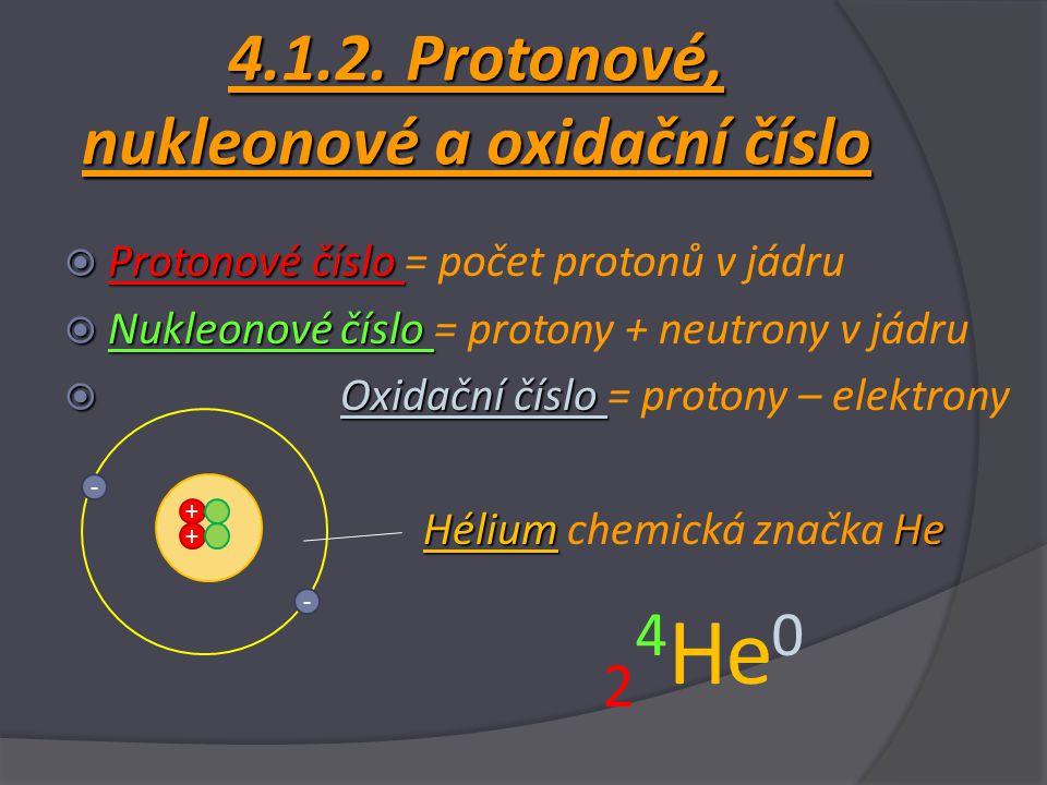4.1.2. Protonové, nukleonové a oxidační číslo