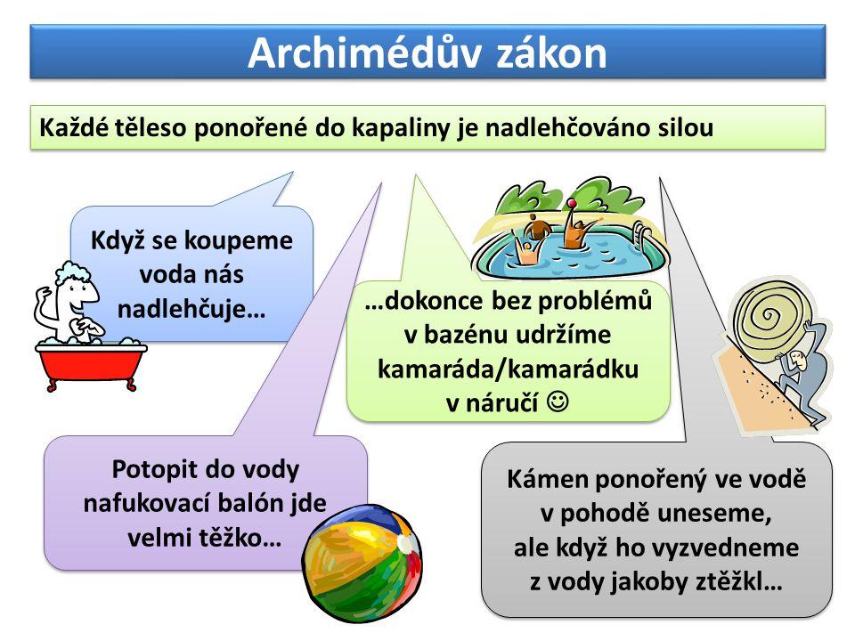 Archimédův zákon Každé těleso ponořené do kapaliny je nadlehčováno silou. Když se koupeme voda nás nadlehčuje…