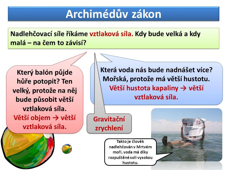 Archimédův zákon Nadlehčovací síle říkáme vztlaková síla. Kdy bude velká a kdy malá – na čem to závisí