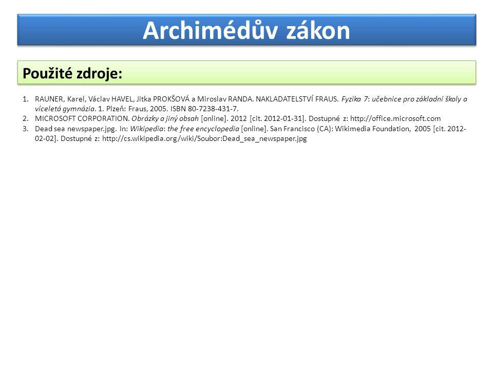 Archimédův zákon Použité zdroje: