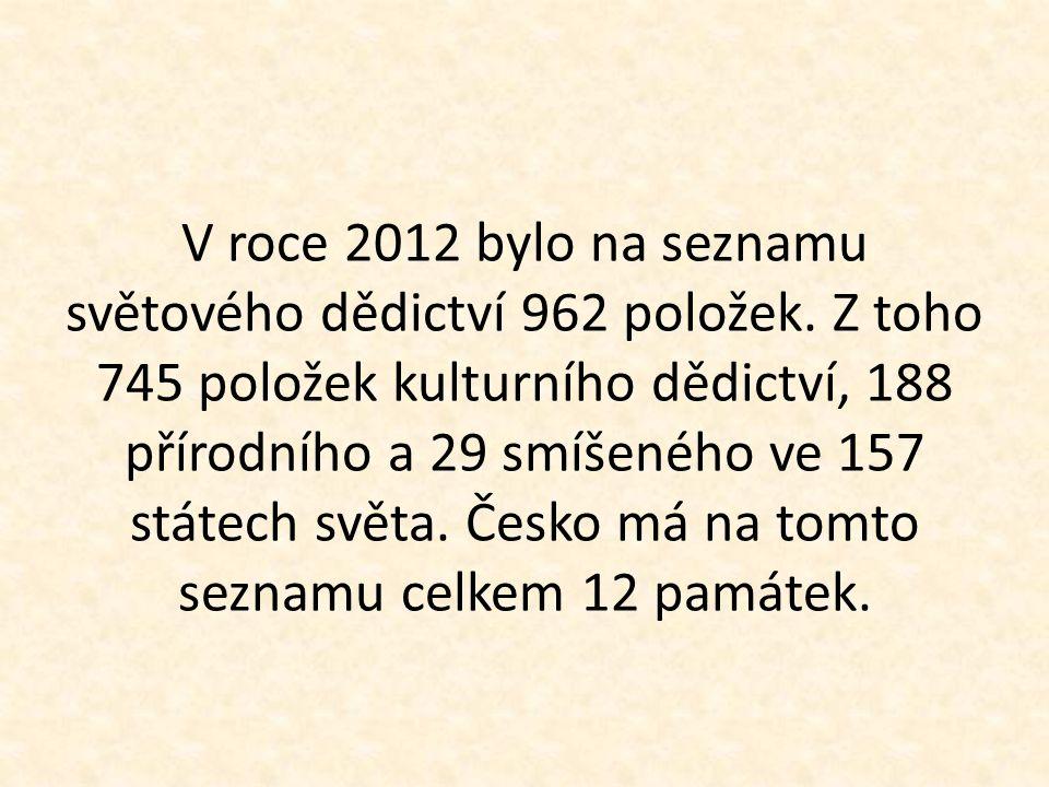 V roce 2012 bylo na seznamu světového dědictví 962 položek