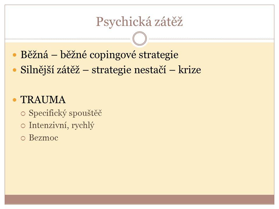Psychická zátěž Běžná – běžné copingové strategie