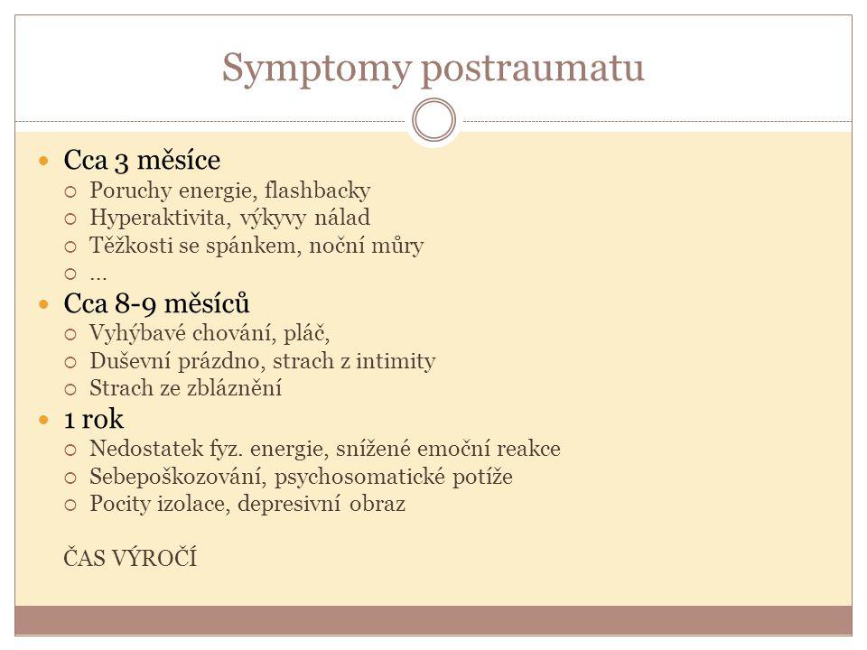 Symptomy postraumatu Cca 3 měsíce Cca 8-9 měsíců 1 rok