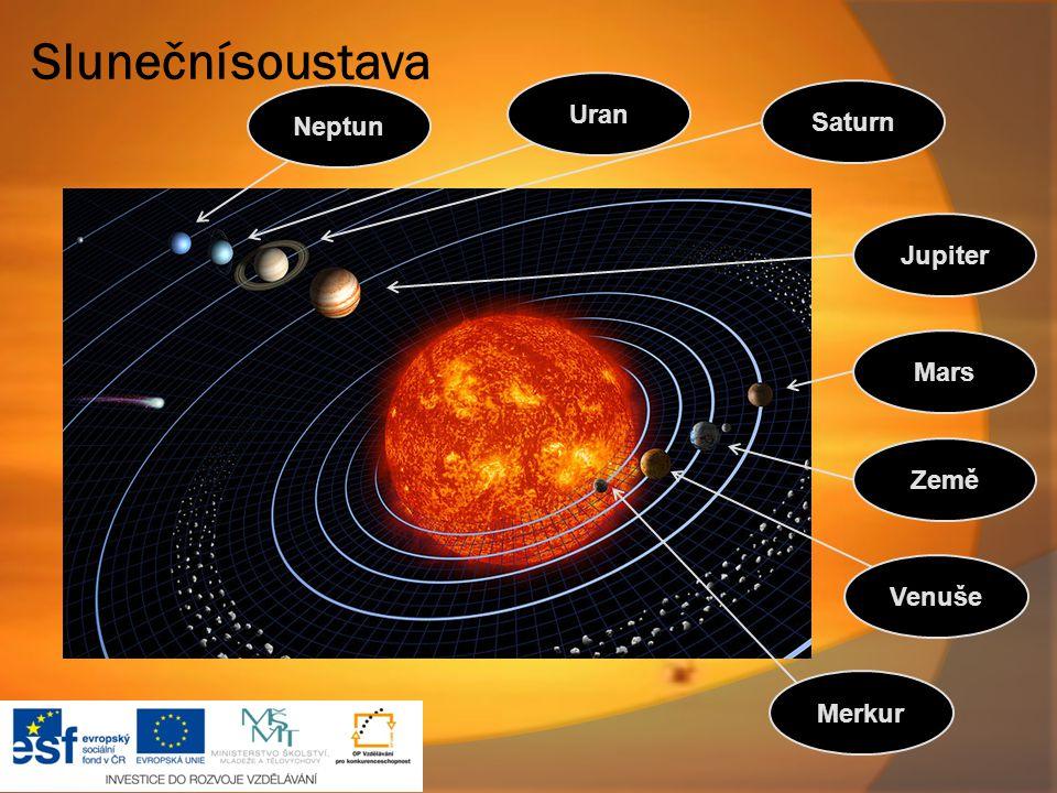 Sluneční soustava Uran Saturn Neptun Jupiter Mars Země Venuše Merkur