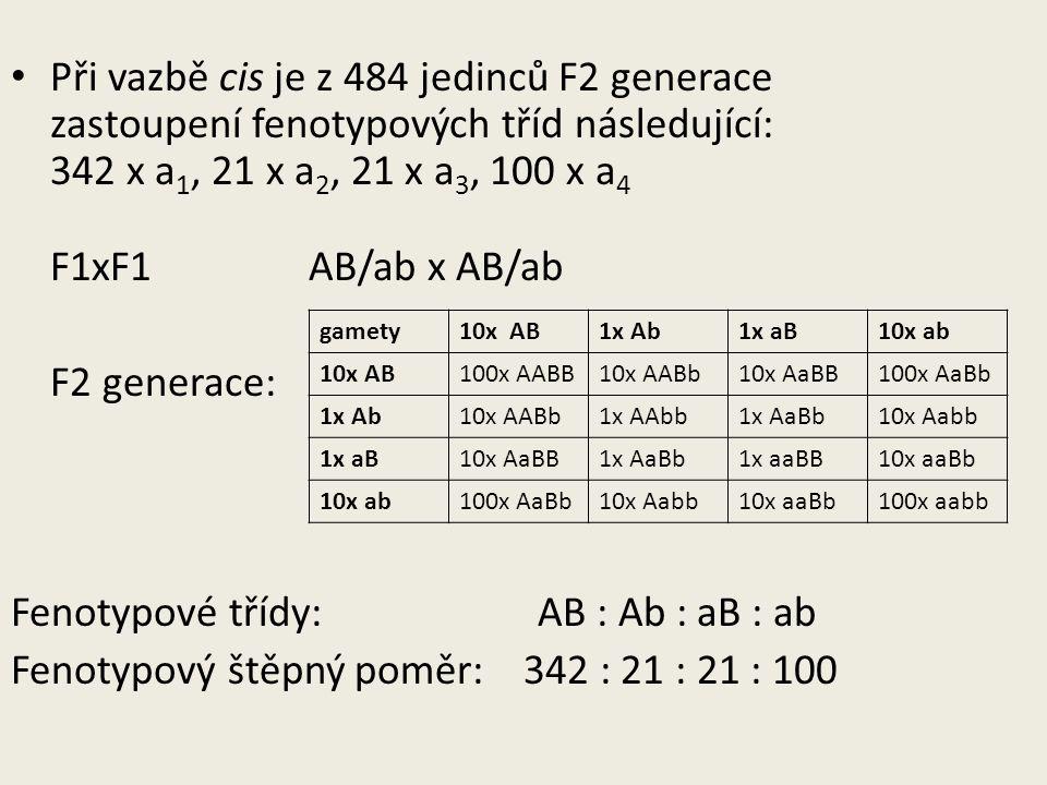 Fenotypové třídy: AB : Ab : aB : ab