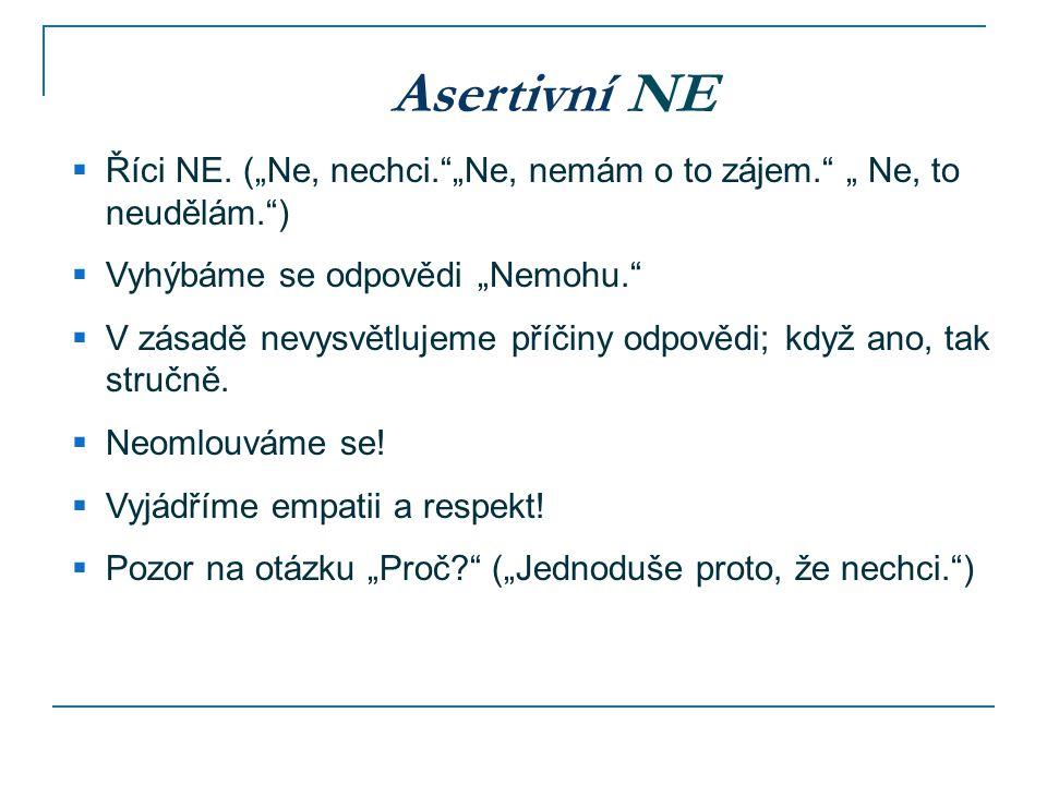 """Asertivní NE Říci NE. (""""Ne, nechci. """"Ne, nemám o to zájem. """" Ne, to neudělám. ) Vyhýbáme se odpovědi """"Nemohu."""