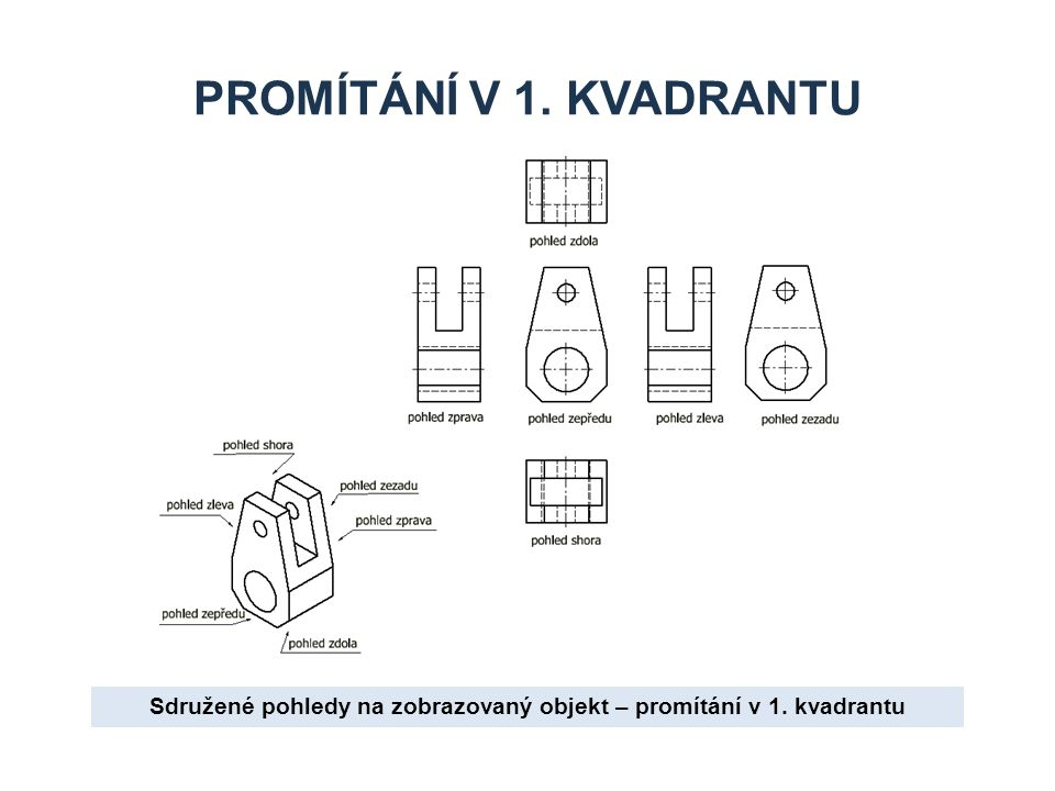 Sdružené pohledy na zobrazovaný objekt – promítání v 1. kvadrantu