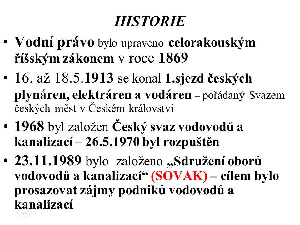 HISTORIE Vodní právo bylo upraveno celorakouským říšským zákonem v roce 1869.