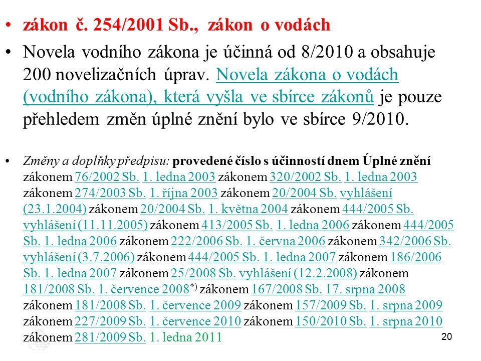 zákon č. 254/2001 Sb., zákon o vodách