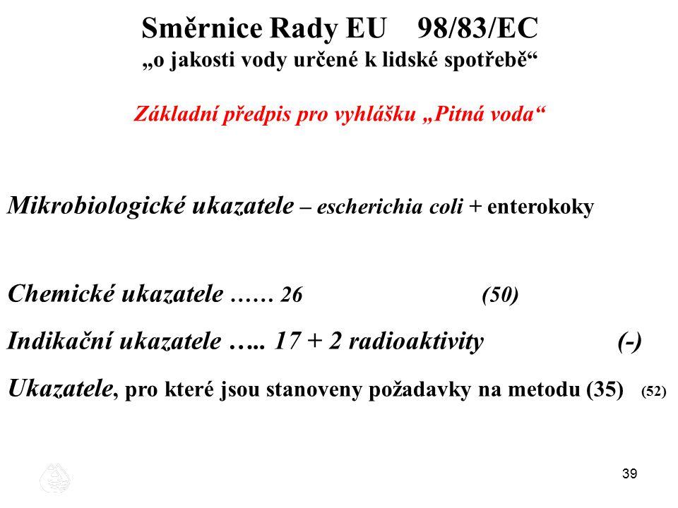 """Směrnice Rady EU 98/83/EC """"o jakosti vody určené k lidské spotřebě Základní předpis pro vyhlášku """"Pitná voda"""
