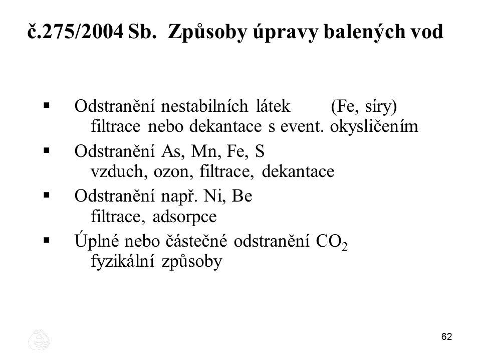 č.275/2004 Sb. Způsoby úpravy balených vod