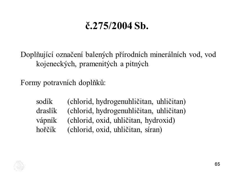 č.275/2004 Sb. Doplňující označení balených přírodních minerálních vod, vod kojeneckých, pramenitých a pitných.
