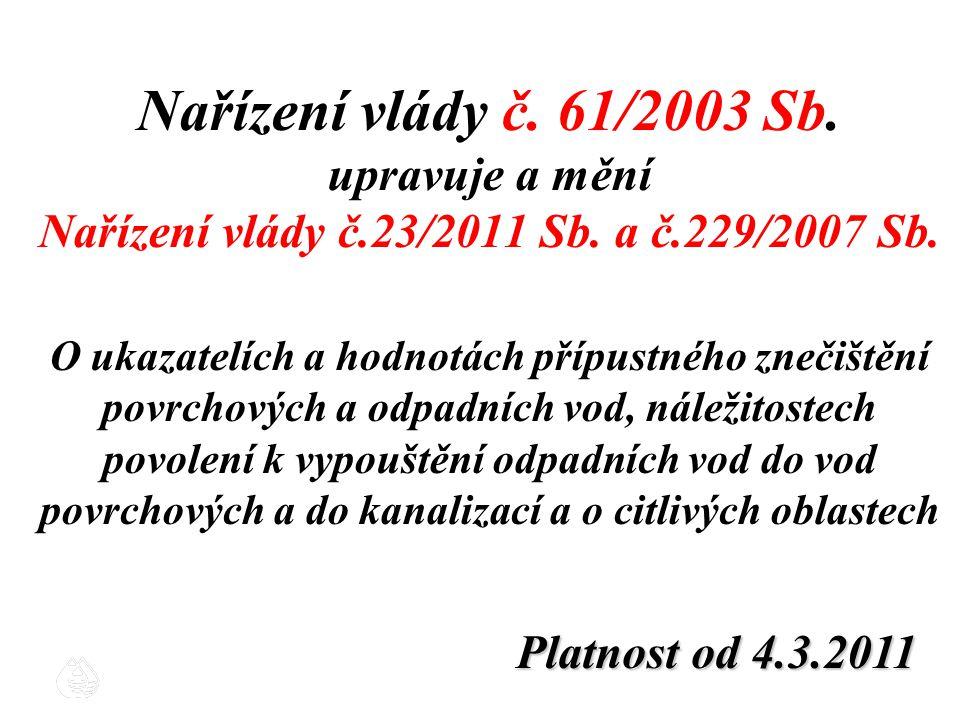 Nařízení vlády č. 61/2003 Sb. upravuje a mění Nařízení vlády č