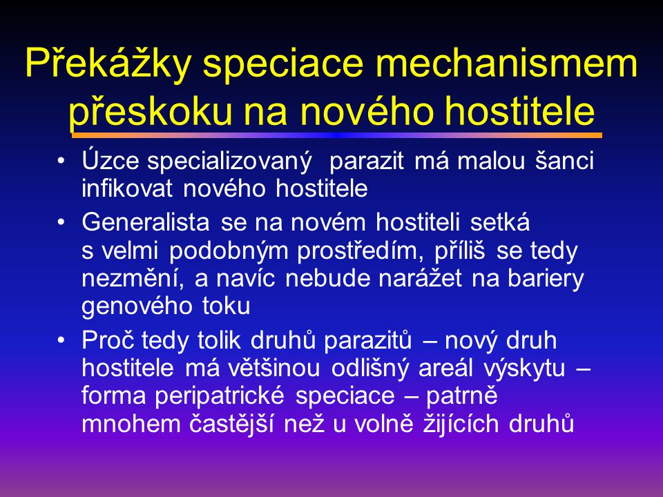 Překážky speciace mechanismem přeskoku na nového hostitele
