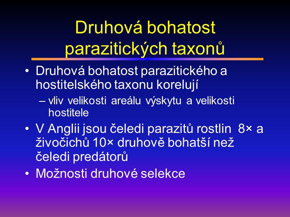 Druhová bohatost parazitických taxonů