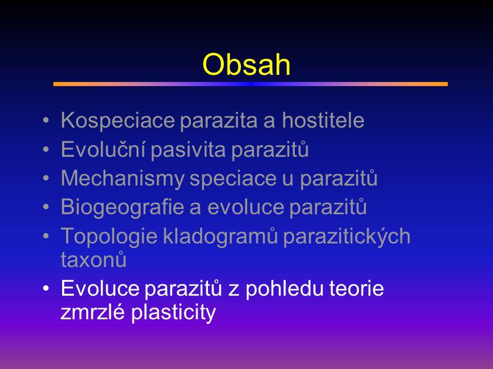Obsah Kospeciace parazita a hostitele Evoluční pasivita parazitů