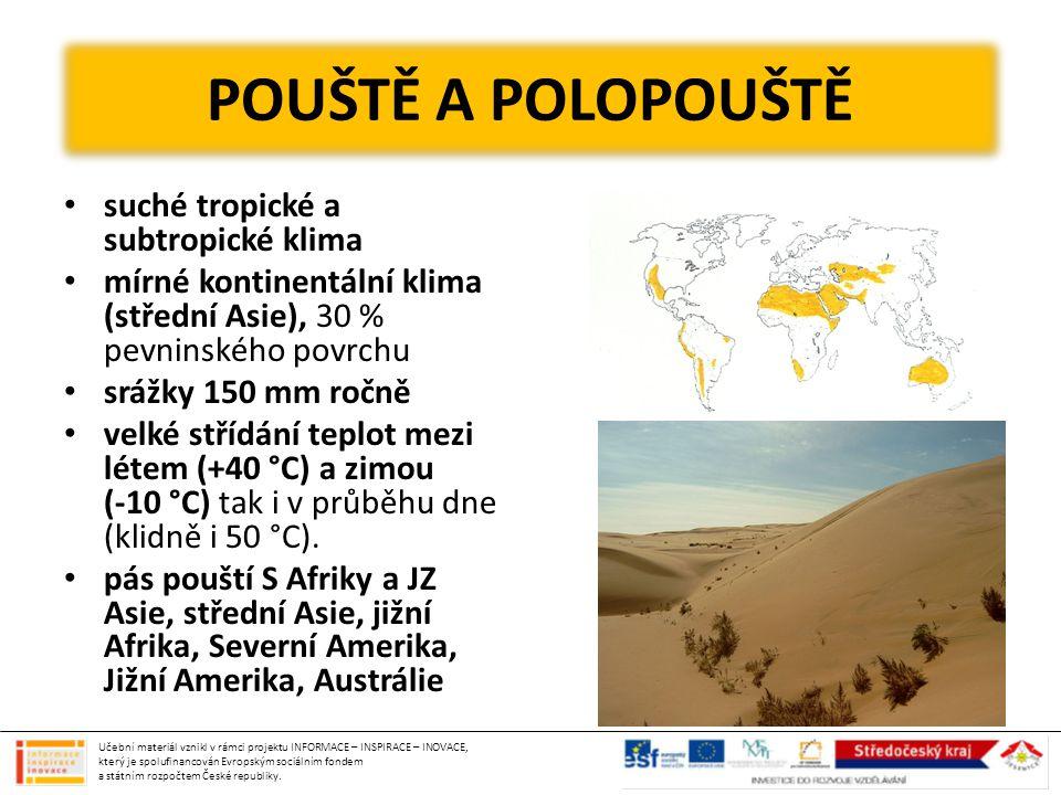 POUŠTĚ A POLOPOUŠTĚ suché tropické a subtropické klima