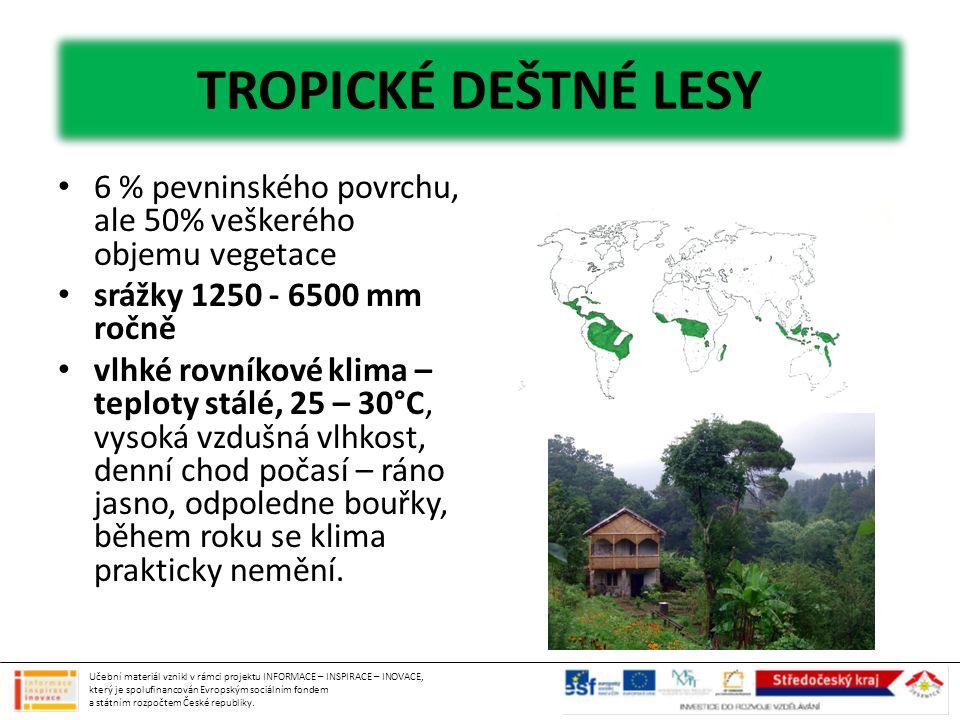 TROPICKÉ DEŠTNÉ LESY 6 % pevninského povrchu, ale 50% veškerého objemu vegetace. srážky 1250 - 6500 mm ročně.