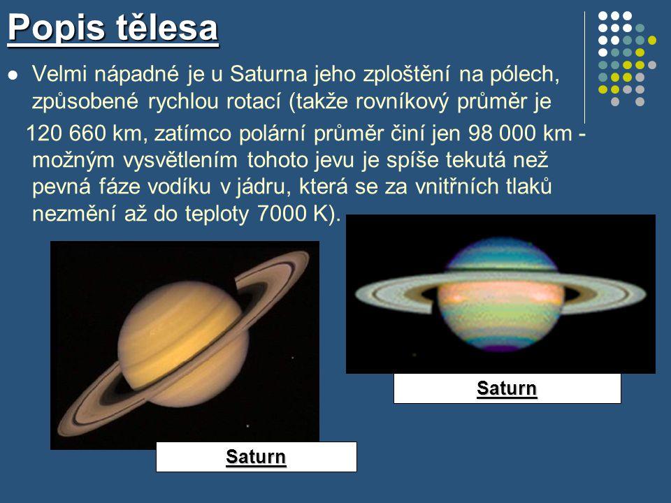 Popis tělesa Velmi nápadné je u Saturna jeho zploštění na pólech, způsobené rychlou rotací (takže rovníkový průměr je.