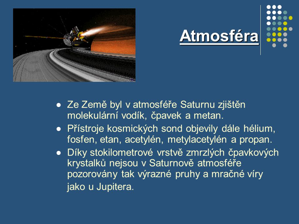 Atmosféra Ze Země byl v atmosféře Saturnu zjištěn molekulární vodík, čpavek a metan.