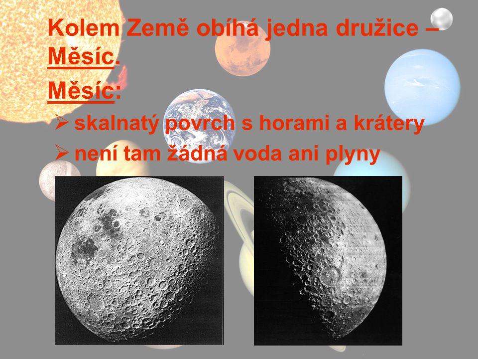 Kolem Země obíhá jedna družice – Měsíc. Měsíc: