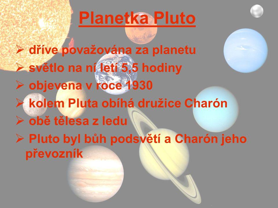 Planetka Pluto dříve považována za planetu