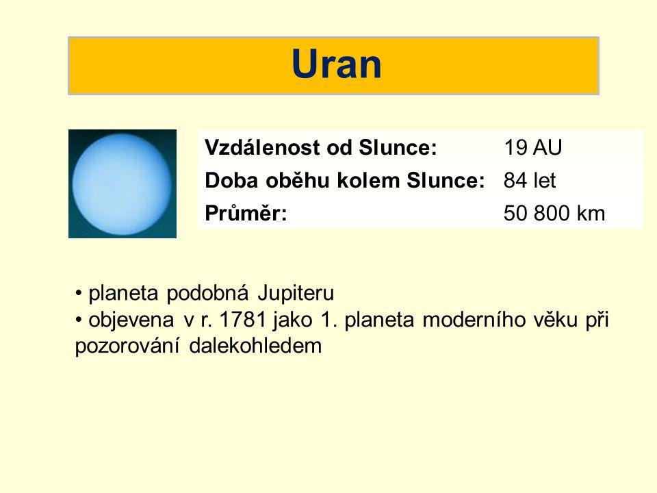 Uran Vzdálenost od Slunce: 19 AU Doba oběhu kolem Slunce: 84 let