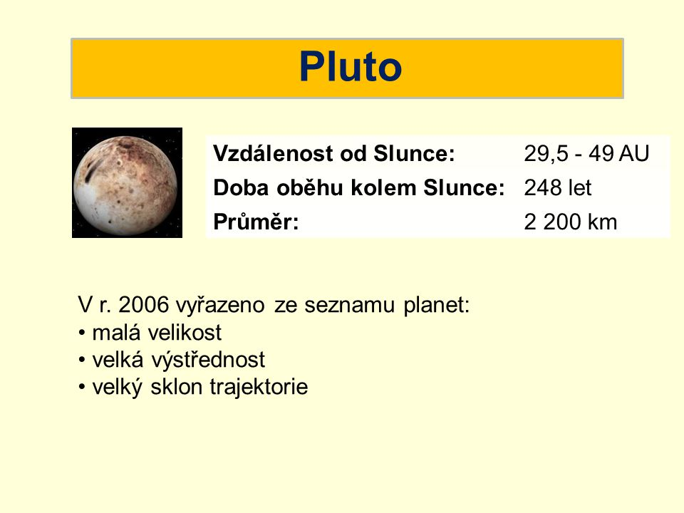Pluto Vzdálenost od Slunce: 29,5 - 49 AU Doba oběhu kolem Slunce: