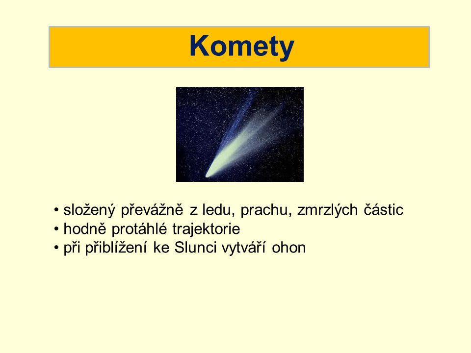 Komety složený převážně z ledu, prachu, zmrzlých částic