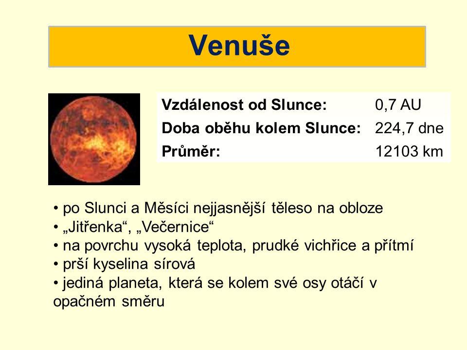 Venuše Vzdálenost od Slunce: Doba oběhu kolem Slunce: Velikost: