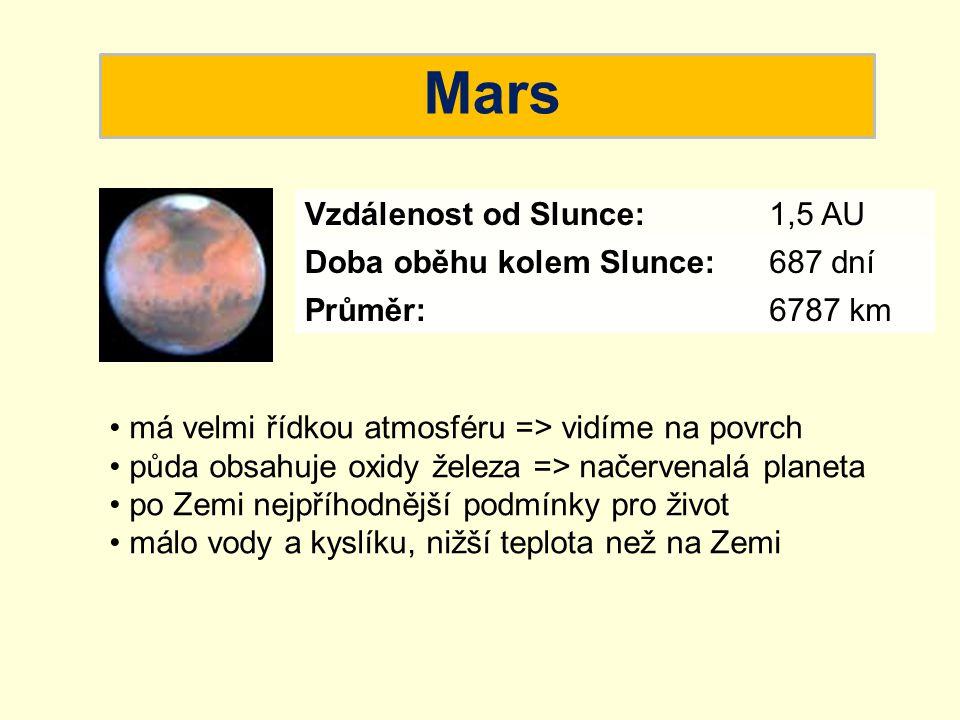 Mars Vzdálenost od Slunce: 1,5 AU Doba oběhu kolem Slunce: 687 dní